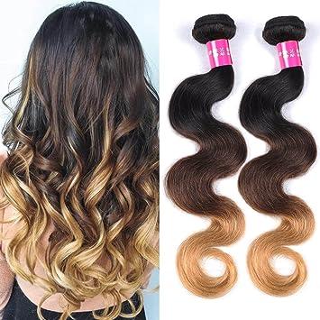 Amazon Com Three Tone Ombre Hair Extensions Brazilian Virgin Hair