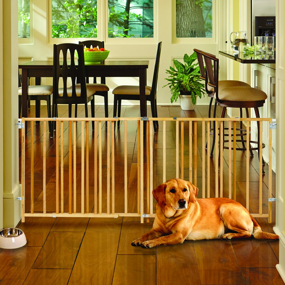 ''Extra-Wide Swing Gate'' by North States: Great for extra-wide openings, with no threshold and one-hand operation. Hardware mount. Fits openings 60'' to 103'' wide (27'' tall, Natural wood) by North States (Image #5)