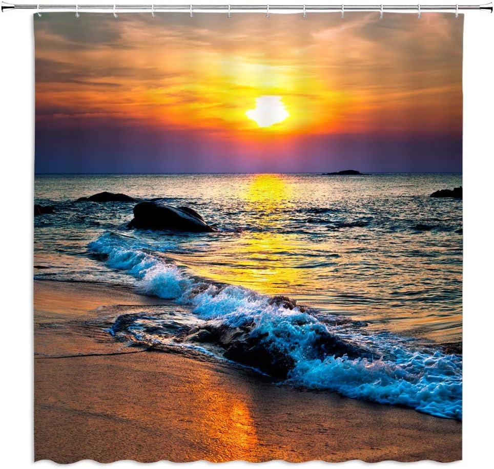 XZMAN Sunset Beach Shower Curtain Tropical Ocean Beach Sea Water Ocean Wave Seaside Sunset Theme Fabric Polyester Bathroom Bath Curtains Decor Set Include Hooks,70 Inches