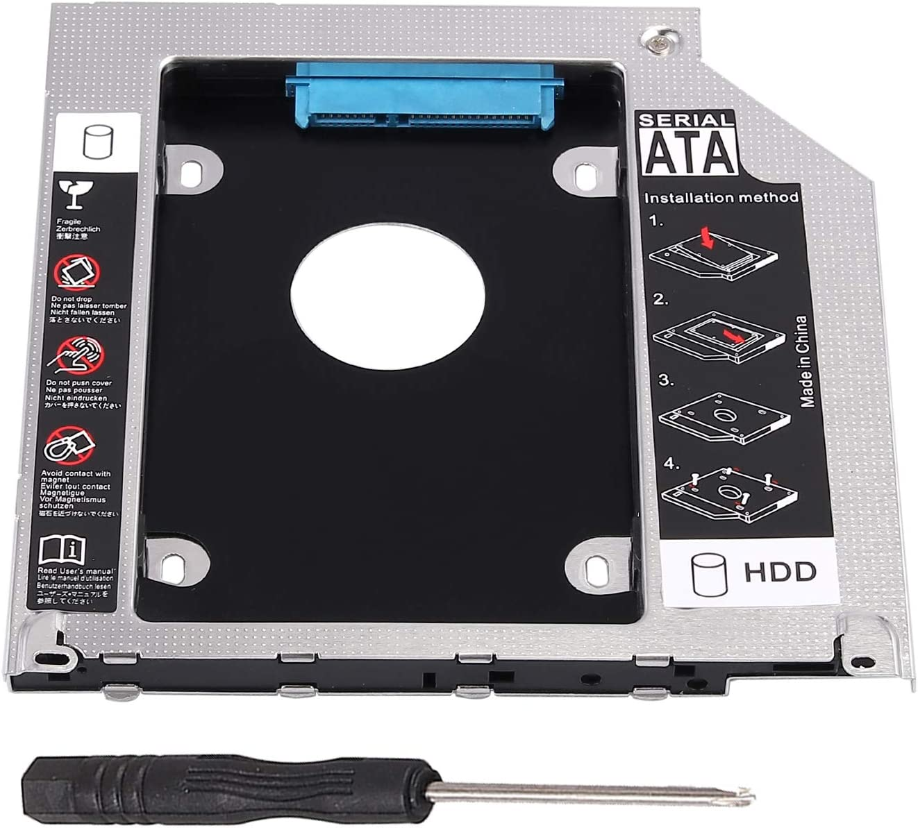 "eSynic Hard Drive Caddy Tray 2.5"" 2nd HDD SDD Kit 9.5mm SATA HDD SSD Adapter Optical Bay Drive Slot for MacBook Pro Unibody 13 15 17 SuperDrive DVD Drive Replacement Only"