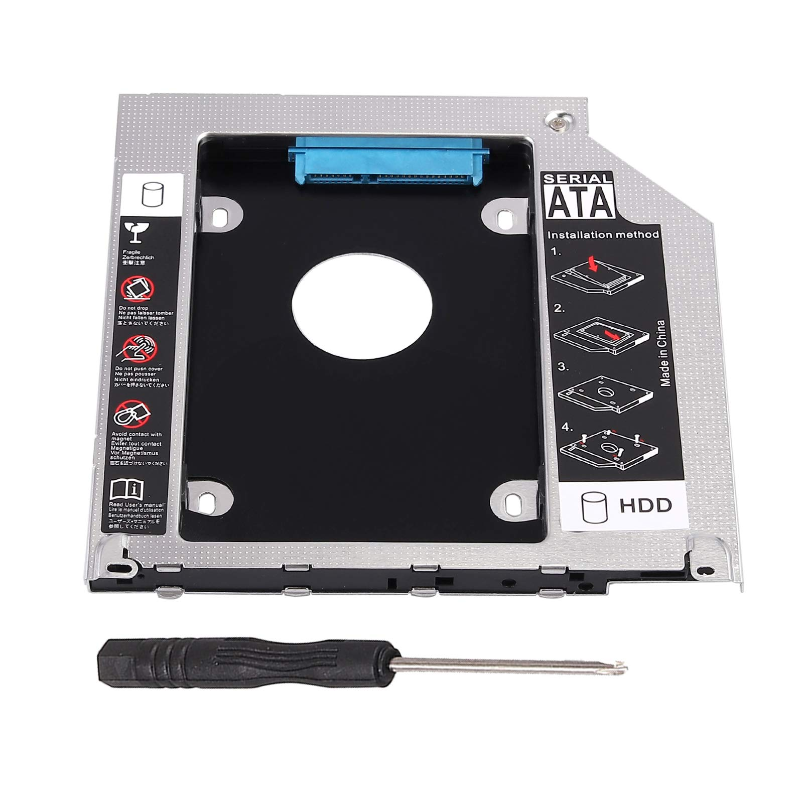 """eSynic Hard Drive Caddy Tray 2.5"""" 2nd HDD SDD Kit 9.5mm SATA HDD SSD Adapter Optical Bay Drive Slot for Pro Unibody 13 15 17 SuperDrive DVD Drive Replacement Only"""