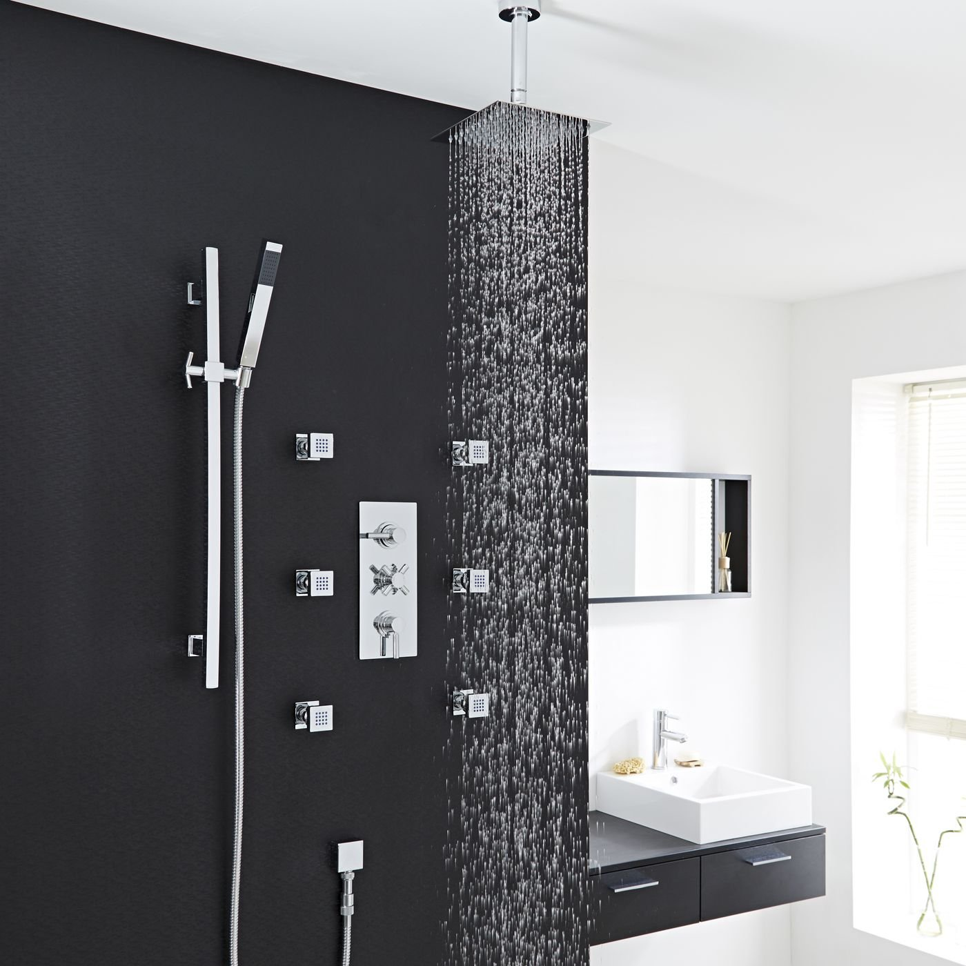 Tec Thermostatic Shower System Hudson Reed In Chrome Plated Finish With Triple Brass Valve, 8'' Rain Head, Square Rail Kit, Hand spray & 6 Massaging Spa Jets