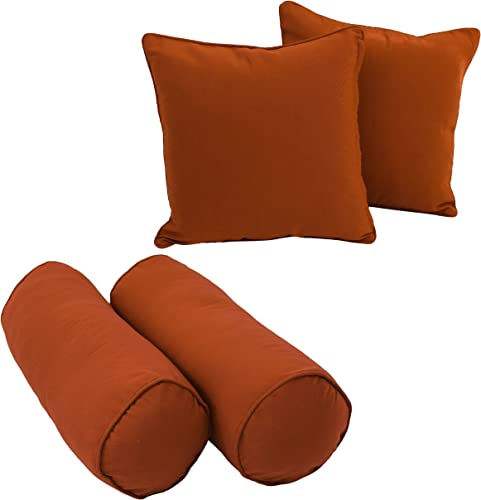 Blazing Needles 9818-S4-CD-TW-GP Double-Corded Solid Twill Throw Pillows with Inserts Set of 4 , Grape