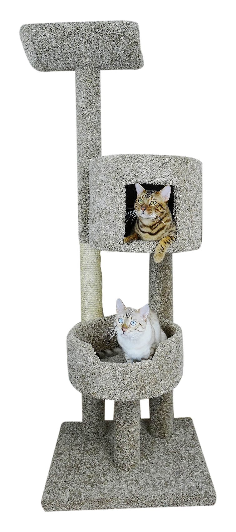 New Cat Condos Solid Wood 67'' Deluxe Cat Tree Tower, Beige, Large