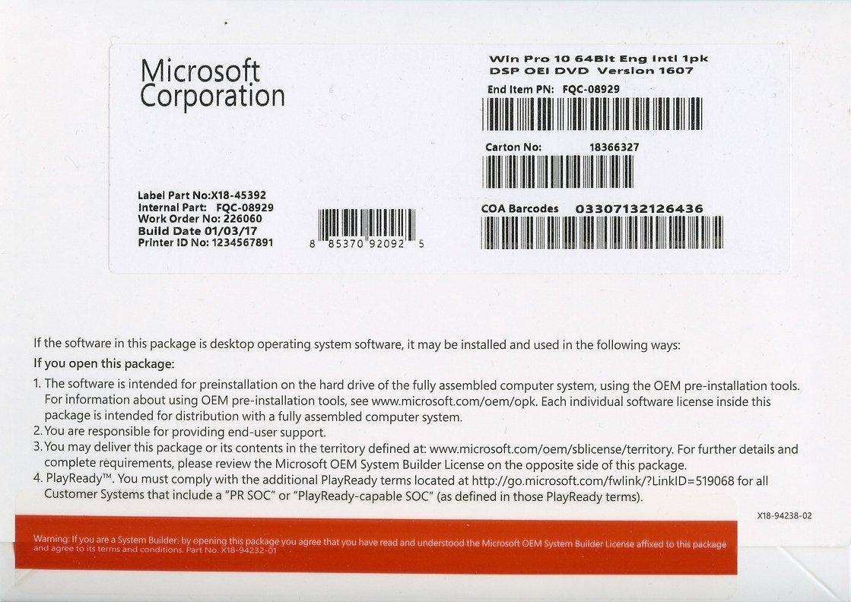 Microsoft Windows 10 Professional 64 Bit Oem Dvd Software Lisensi Office 2016 Plus Original