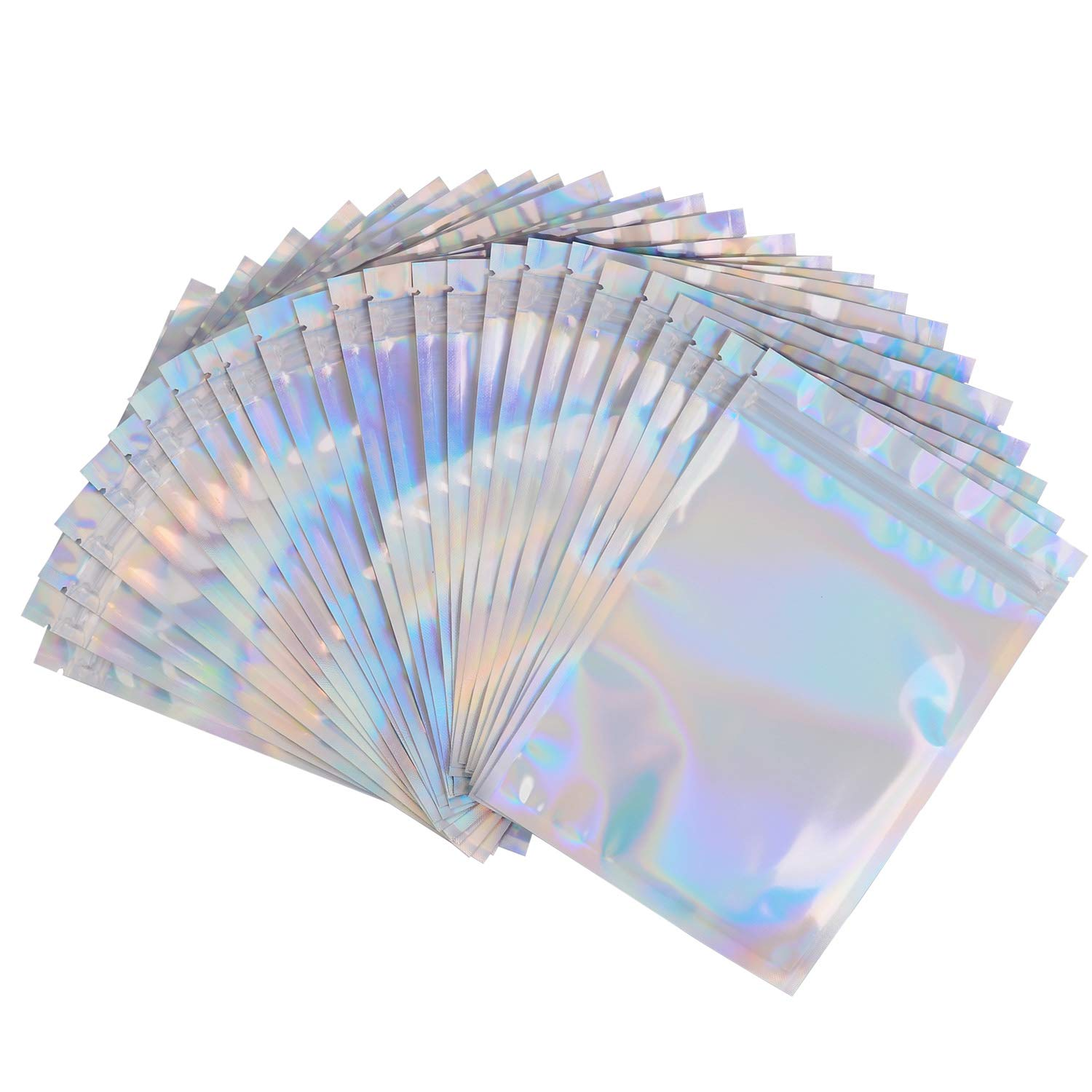 100 Pack Smell Proof Bags - 5x7 Inches Reclosable Mylar Bags Resealable Clear Ziplock FDA Approved Food Safe Holographic Rainbow Color