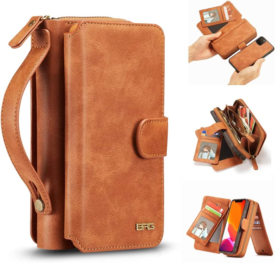 """iPhone 11 Pro Max Case, [Magnetic Detachable] Wallet PU Leather Mirror Case Removable Flip Folio Cover Zipper Purse Clutch Handbag with [11 Card Holder Slot] for iPhone 11 Pro Max 6.5"""" - Brown"""
