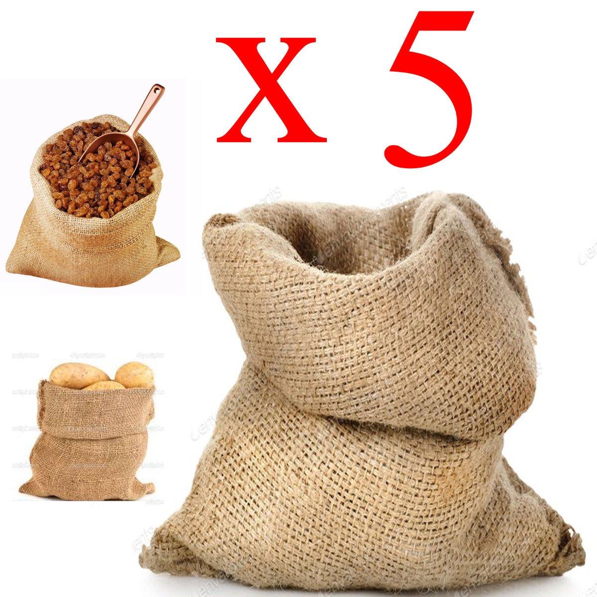 Sacco Juta 40x70 neutro naturale caffè cereali tela yuta regali 5 pezzi STI