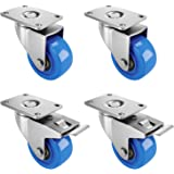 """Femor 3"""" Heavy Duty Swivel Caster Wheels, Plate Casters Set of 4 with 2 Brakes for Furniture, Carts, Dolly,Trolley- 240 Lbs P"""
