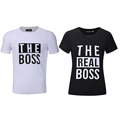 696599906 Bangerdei The Boss and The Real Boss Couples T-Shirts Anniversary Newlywed  Matching Set Tops