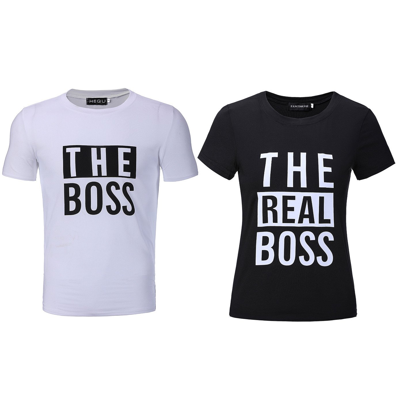 Bangerdei The Boss and The Real Boss Couples T-Shirts Anniversary Newlywed Matching Set Tops Valentines Gifts Black Women L + White Men XL