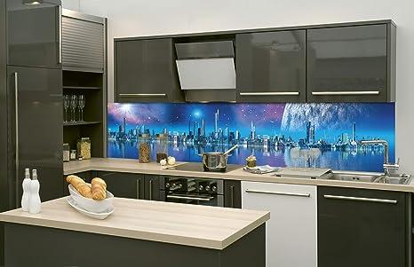 DIMEX LINE Küchenrückwand Folie selbstklebend FUTURISTISCHE Stadt 260 x 60  cm | Klebefolie - Dekofolie - Spritzschutz für Küche | Premium QUALITÄT
