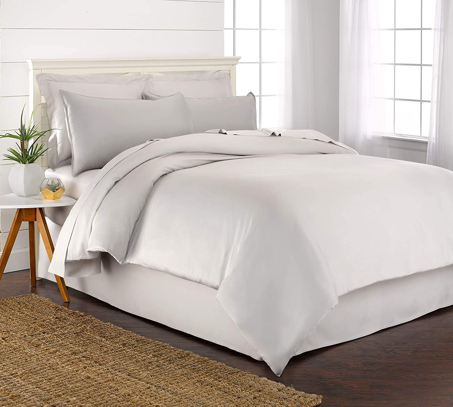 """Incredibly Soft /& Smooth Twin Bed Skirt - 100/% Organic Bamboo Bed Skirt with 16/"""" Drop 39/"""" x 75/"""" Charcoal Pure Bamboo"""