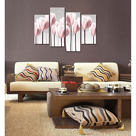 Floral Canvas Wall Art,Canvas Print Pink Tulips for Wall Decor, Framed and