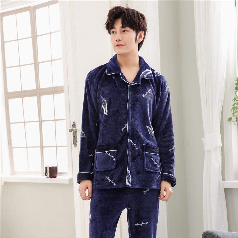 Winter Flannel Men Pajama Sets Mens Pajamas Thick Grid Warm Pyjama Home Suit Nightwear Plus Size