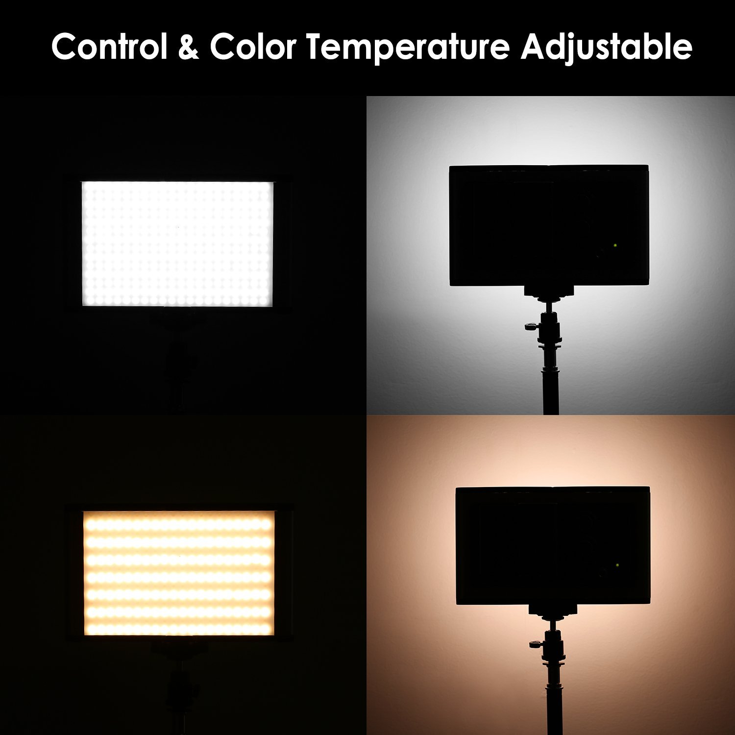 Neewer 3-Pack Bi-color Dimmable 280 LED Video Light and Stand Lighting Kit with Battery, USB Charger and Carrying Bag - 3200-5600K,CRI 95+ LED Panel for Camera Photo Studio, YouTube Video Shooting by Neewer (Image #3)