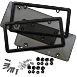 Zone Tech Clear Smoked License Plate Shield Combo - 2-Pack Premium Quality Novelty/License Plate Clear Smoked and Black Bubble Shield and Frame