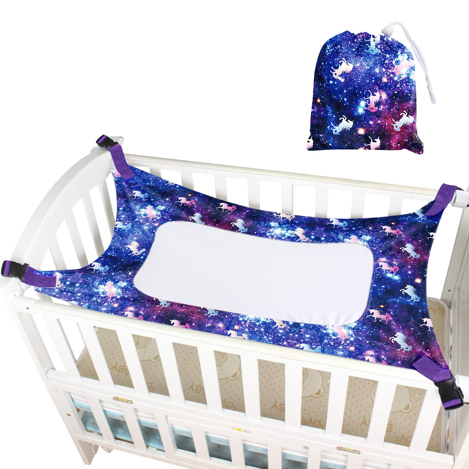 Sylfairy Baby Hammock for Crib, Mimics Womb, Breathable Supportive Mesh Newborn Bassinet Safe Buckle Hammocks Bed with Portable Gift Bag for Newborn Baby Shower Gifts Bassinet Hammock(Galaxy)