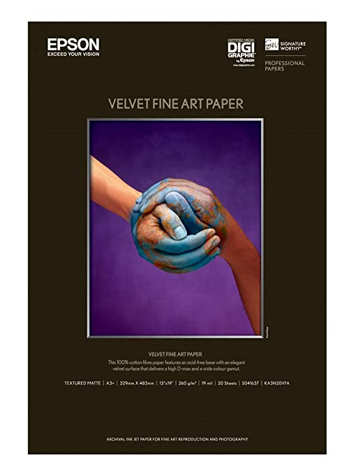 8 opinioni per Epson Velvet Fine Art Paper, Carta Fotografica Velvet, 20 fogli, A3+, 43 x 48.3