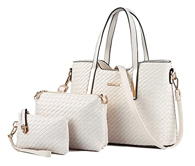 Amazon.com  Tibes Fashion PU Leather Women Handbag+Shoulder Bag+Purse 3pcs  Bag Weave Tote Beige  Shoes 93d77e749