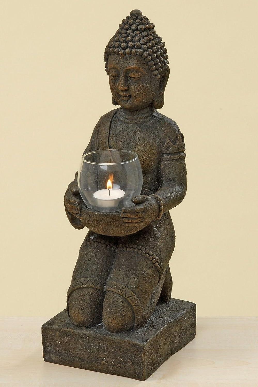 44 cm in resina sintetica altezza: ca B/&G Statuetta raffigurante Buddha in ginocchio con portacandela antivento per Feng Shui