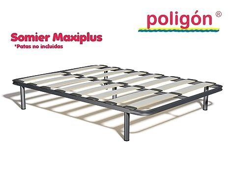 Poligón Somier MAXIPLUS Láminas anchas de madera de haya natural vaporizada de 120mm que aportan firmeza