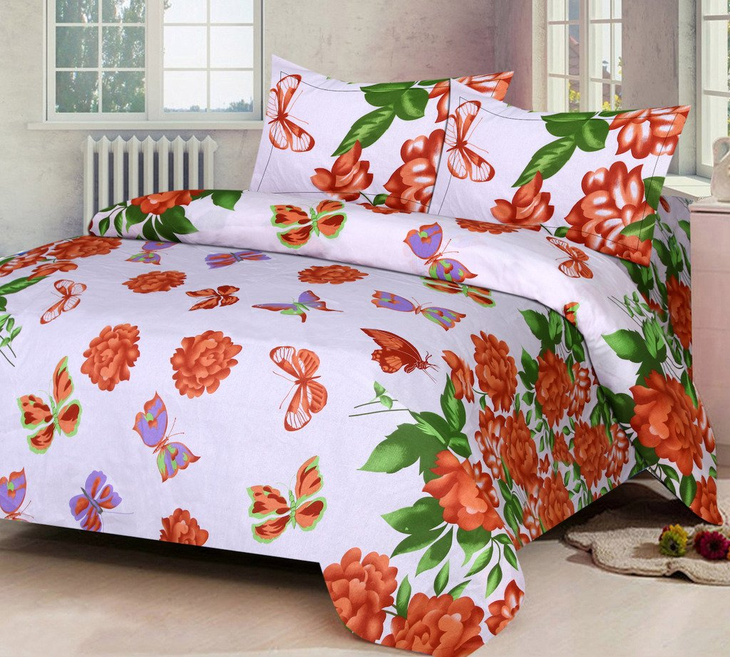 IWS Luxury Printed 120 TC Cotton Double Bedsheet with 2 Pillow Covers - Orange