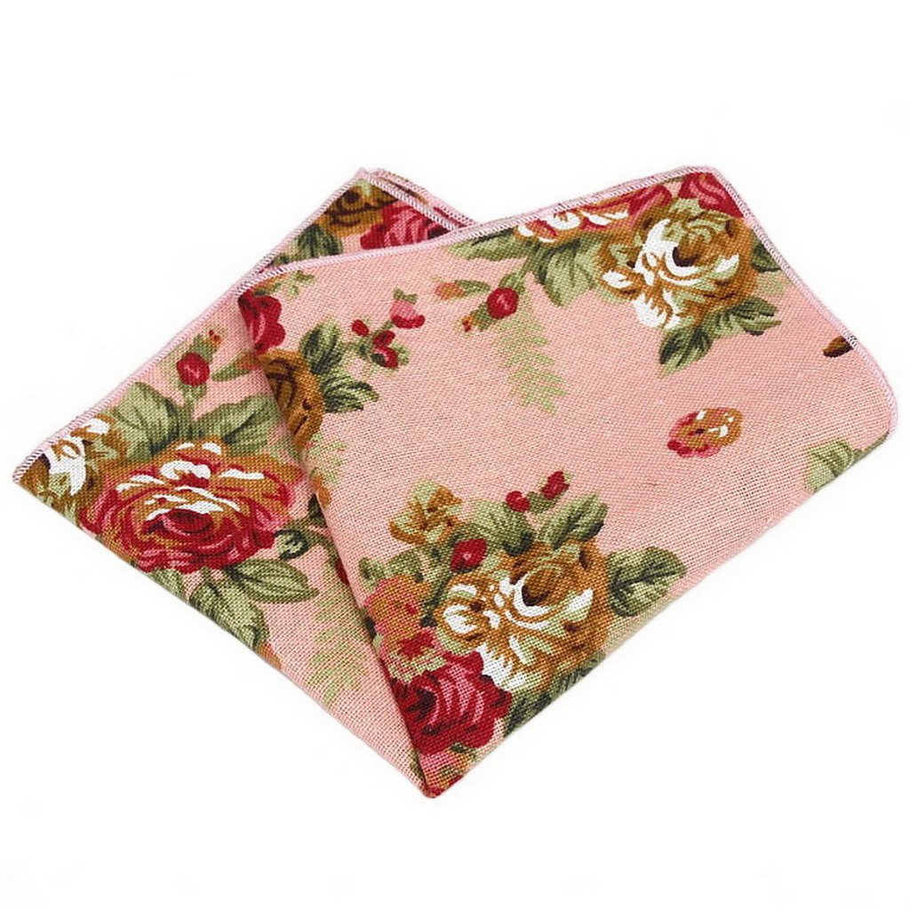 Ukerdo Floral Skinny Necktie & Pocket Square & Bow Ties Set for Men Wedding Party - Pink Sets-W046