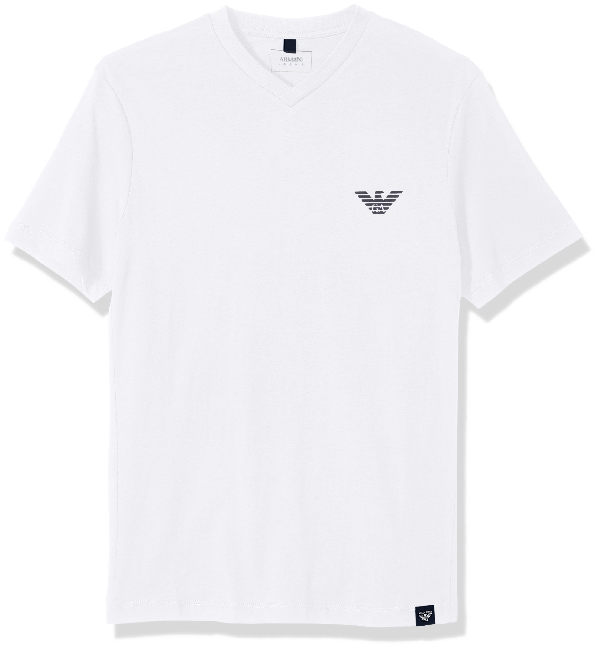 ARMANI JEANS Men's Side Logo T-Shirt, White, Large