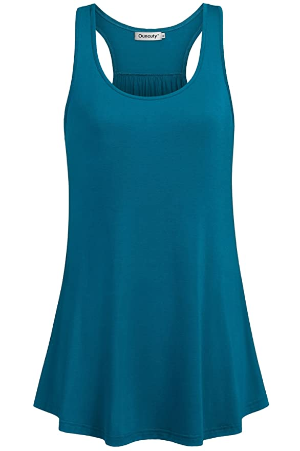 81599afff78d8 Amazon.com  Ouncuty Womens Sleeveless Racerback Workout Casual Loose Flowy  Tank Tunic Camis  Clothing