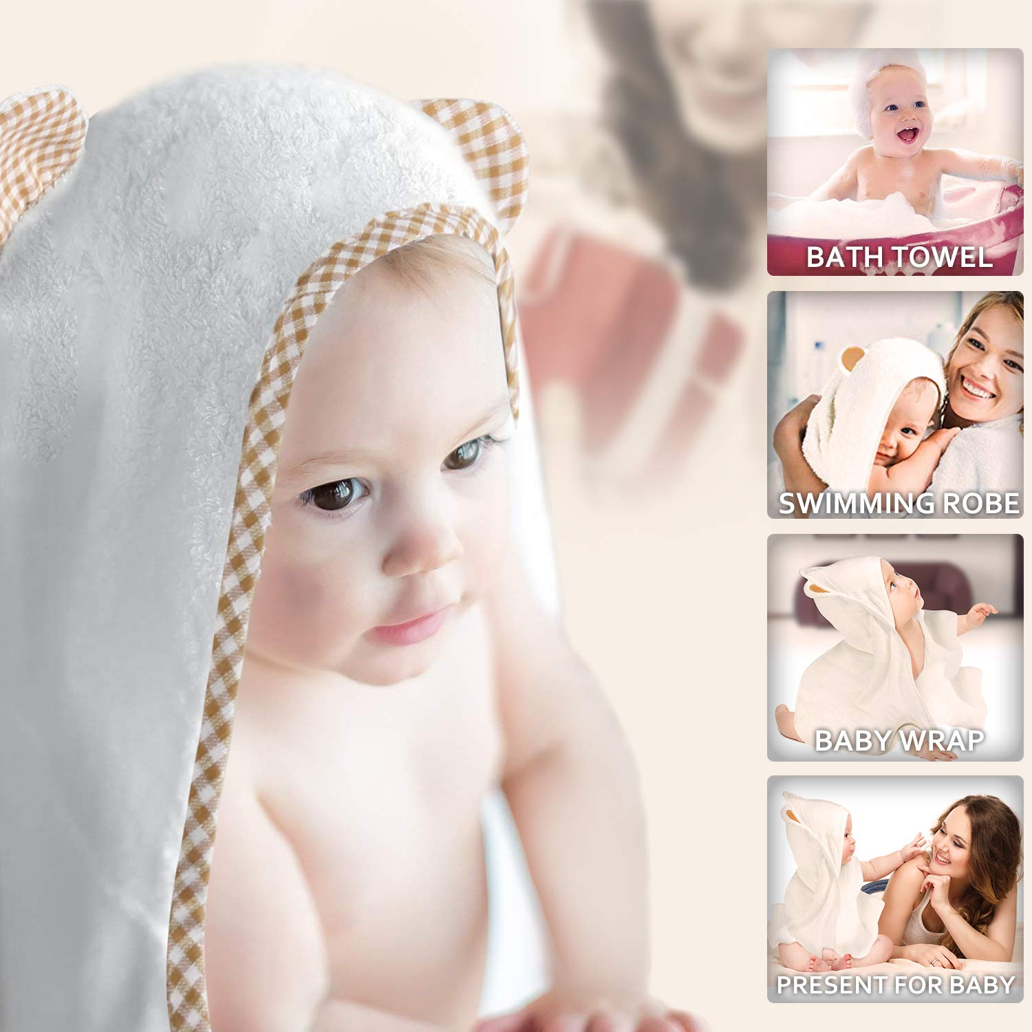Hooded Baby Towel-Orthland Ultra Soft Baby Towels Antibacterial and Hypoallergenic Organic Bamboo Bath Wrap with Hood (35x35) for Newborn and Toddler (0-5 Years Boys and Girls) Baby Registry Gift Orthland-Baby Towels