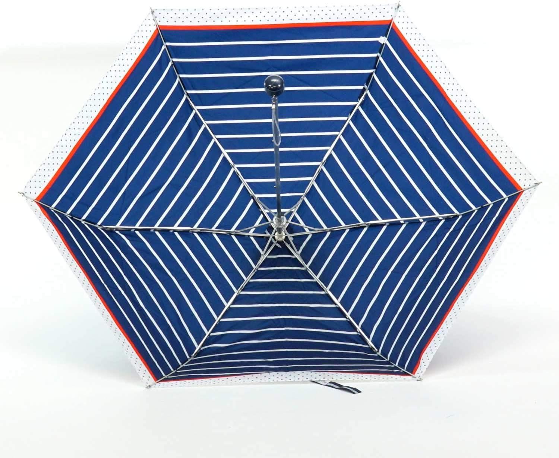Attain Attain folding umbrella lightweight mini border /& dot navy blue rib 50cm 5182