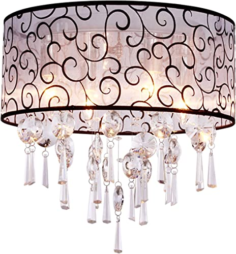DINGGU Modern 4 Lights Drum Flush Mounted Crystal Ceiling Light Chandelier