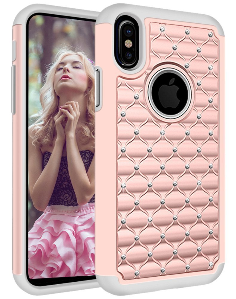 iPhone X Case, iPhone 10 Case, Arukas Studded Rhinestone Crystal Bling Hybrid Armor Defender Dual LAYER Shockproof Protective Hard Plastic+Soft Silicon Rubber Case Cover for iPhone X (rose gold)