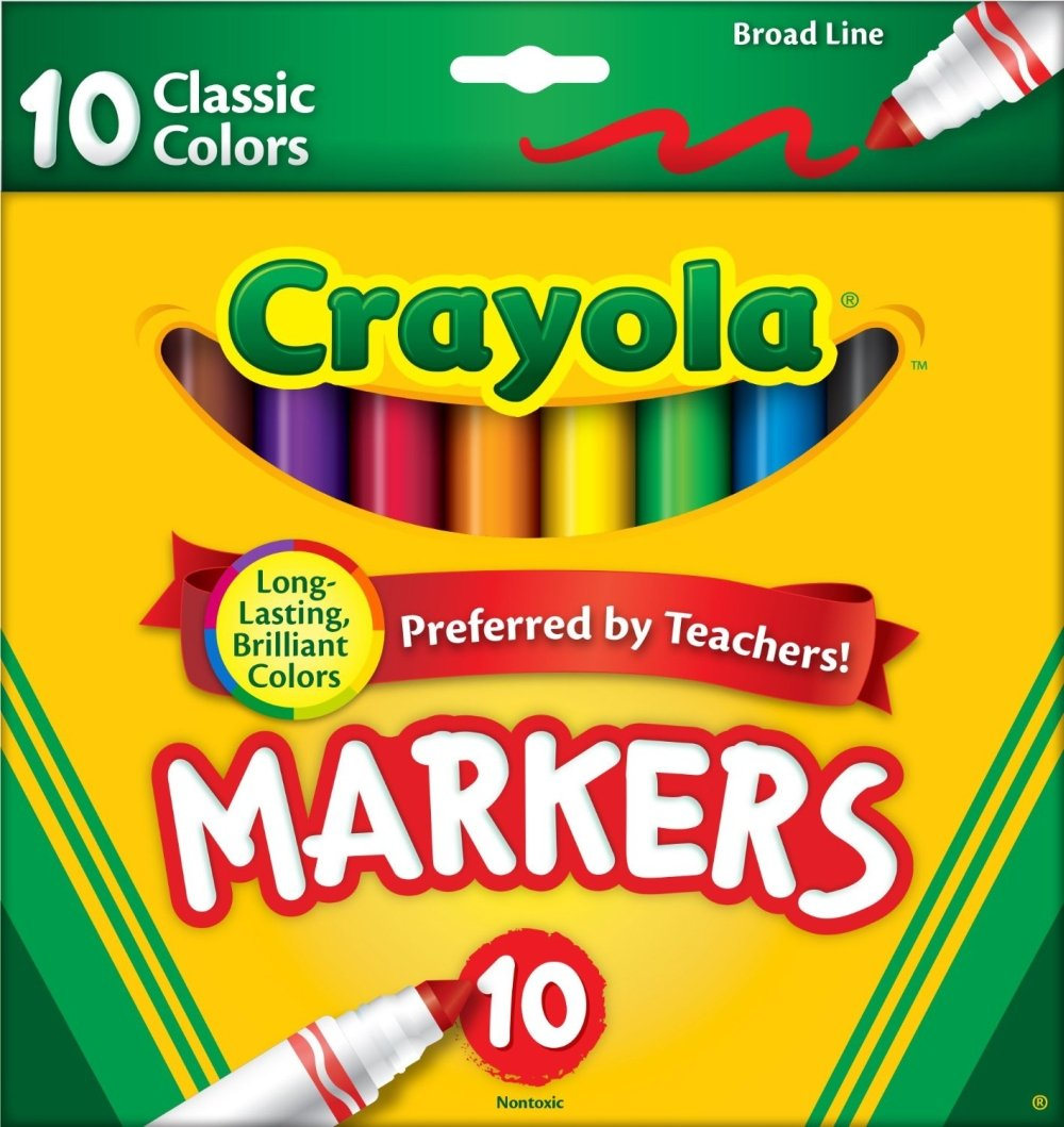 Crayola Broad Line Markers, Classic Colors 10 Each (Pack of 6) 587722 AML23723-6PK-77228