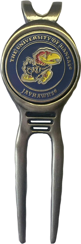 カンザスジェイホークス ゴルフディボットツール 真鍮 ギフトに最適 アイディア KU ロックチョーク ビッグ12   B07JMP6KXT