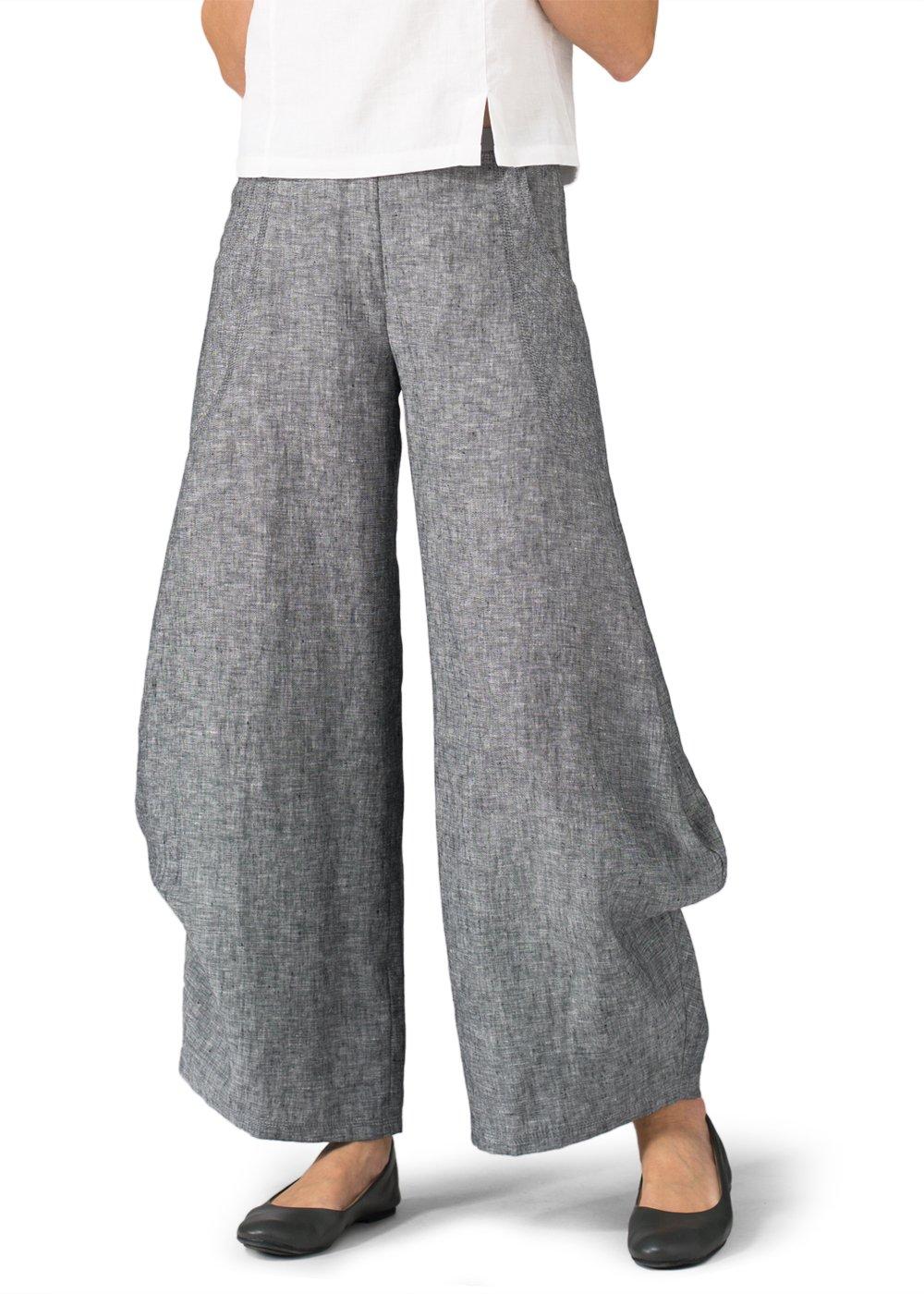 Vivid Linen Flared Leg Pants-26W-Two Tone Black