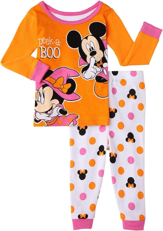 Disney Girls Halloween Pajamas Toddler Baby Minnie Mouse Orange PJs Glow in Dark