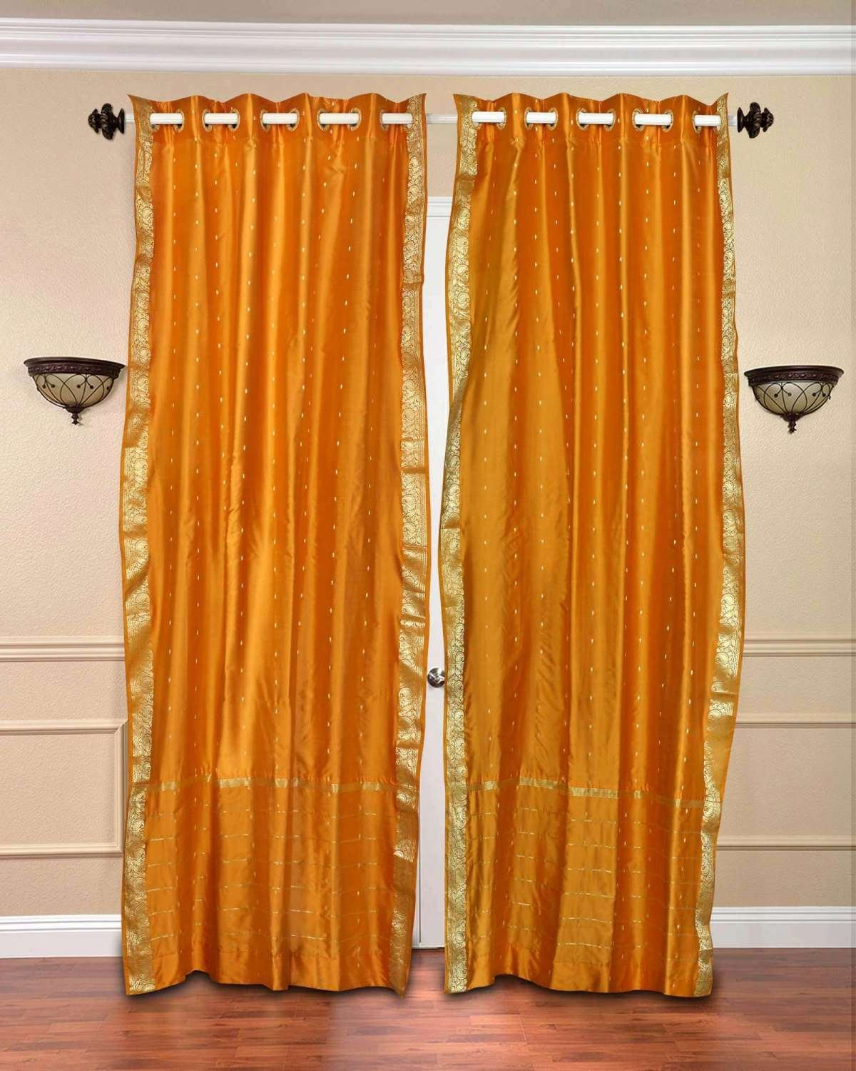 Indian Selections Lined-Mustard Ring Top Sheer Sari Cafe Curtain/Drape - 43W x 24L - Piece