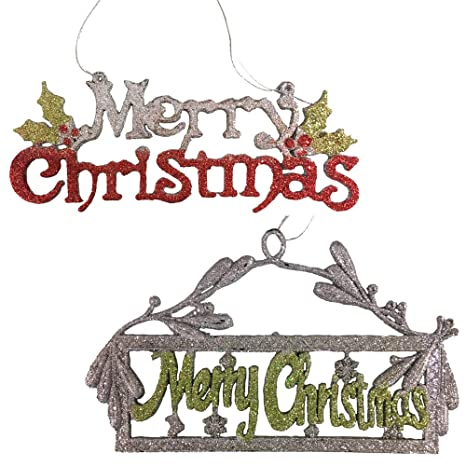 Amazoncom Banberry Designs Merry Christmas Glitter Sign Set Of 2