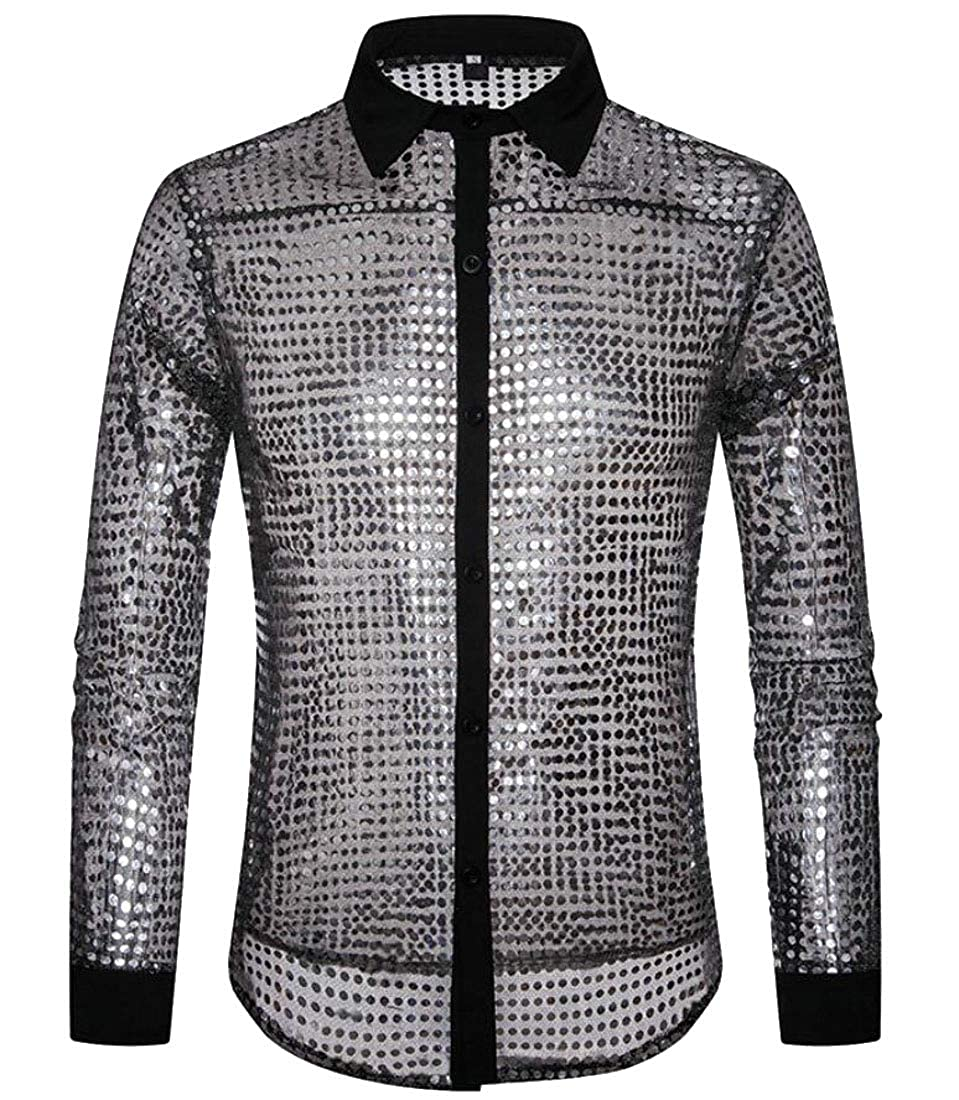 X-Future Mens Sequins Lapel Buttons Loose Long Sleeve Shirts Clubwear