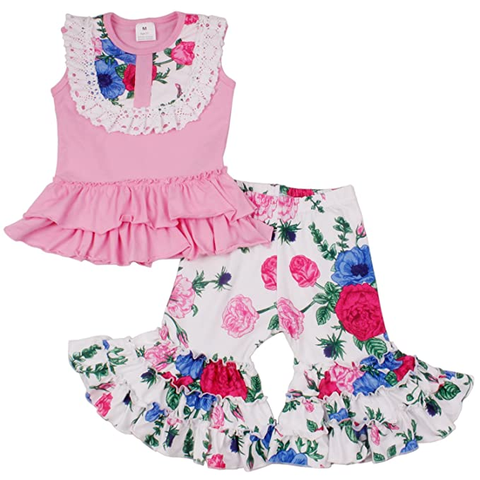 8483fd19ef565 QLIyang Baby Girl 2Pcs Outfit Pant Set Flower Cotton Dress Ruffle Pants  Summer Girls Floral Dress