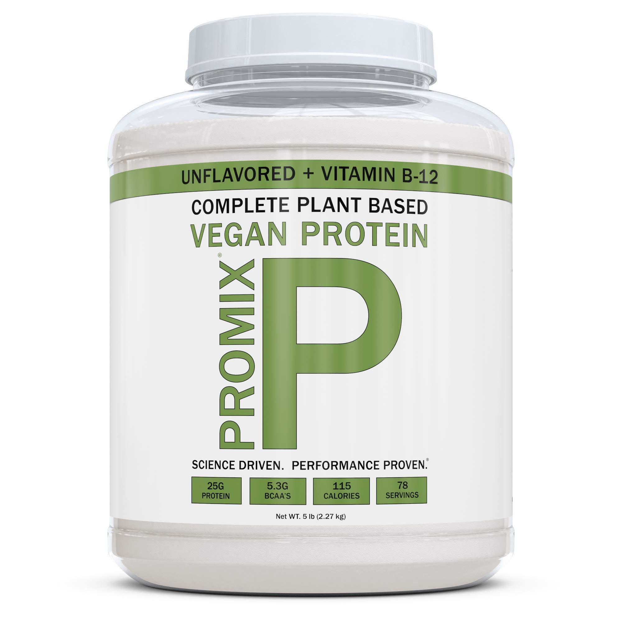 PROMIX Premium Vegan Protein + B12, Organic Complete Protein Plant Based Blend, Gluten-Free, Soy Free, 5lb Bulk
