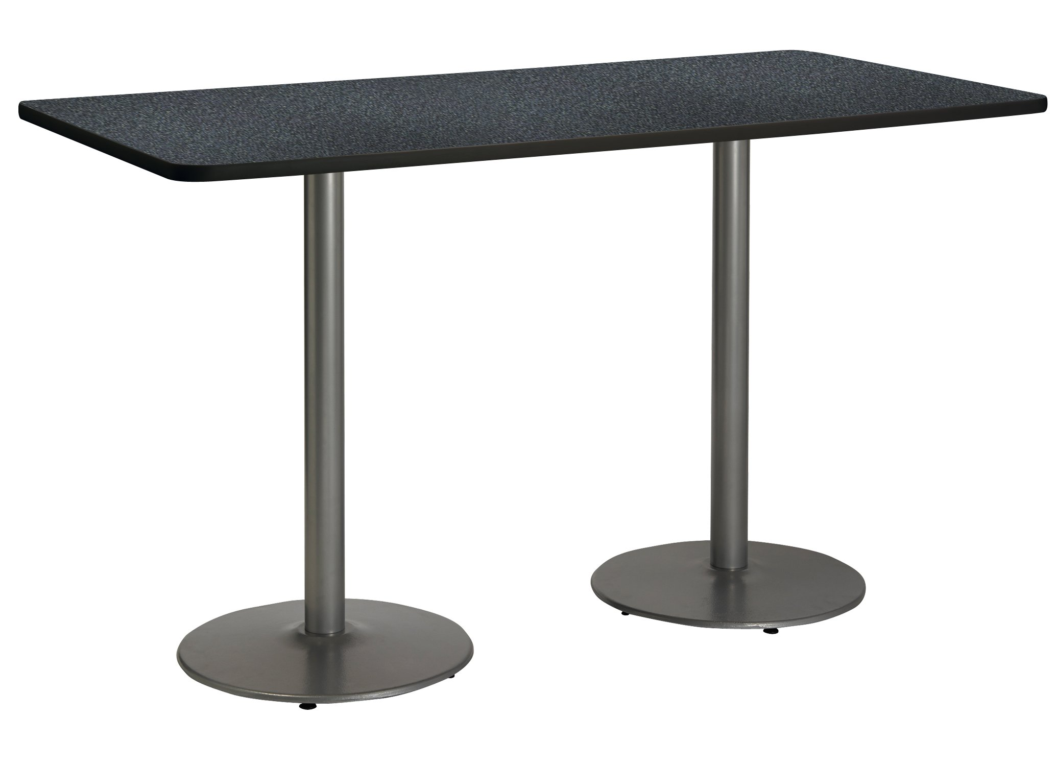 30'' x 72'' Pedestal Table with Graphite Nebula Top, Round Silver Base, Bistro Height by KFI Seating
