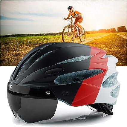 Cycling Helmet Men Women Breathable Mountain Road Bike Helmet with Goggles Visor
