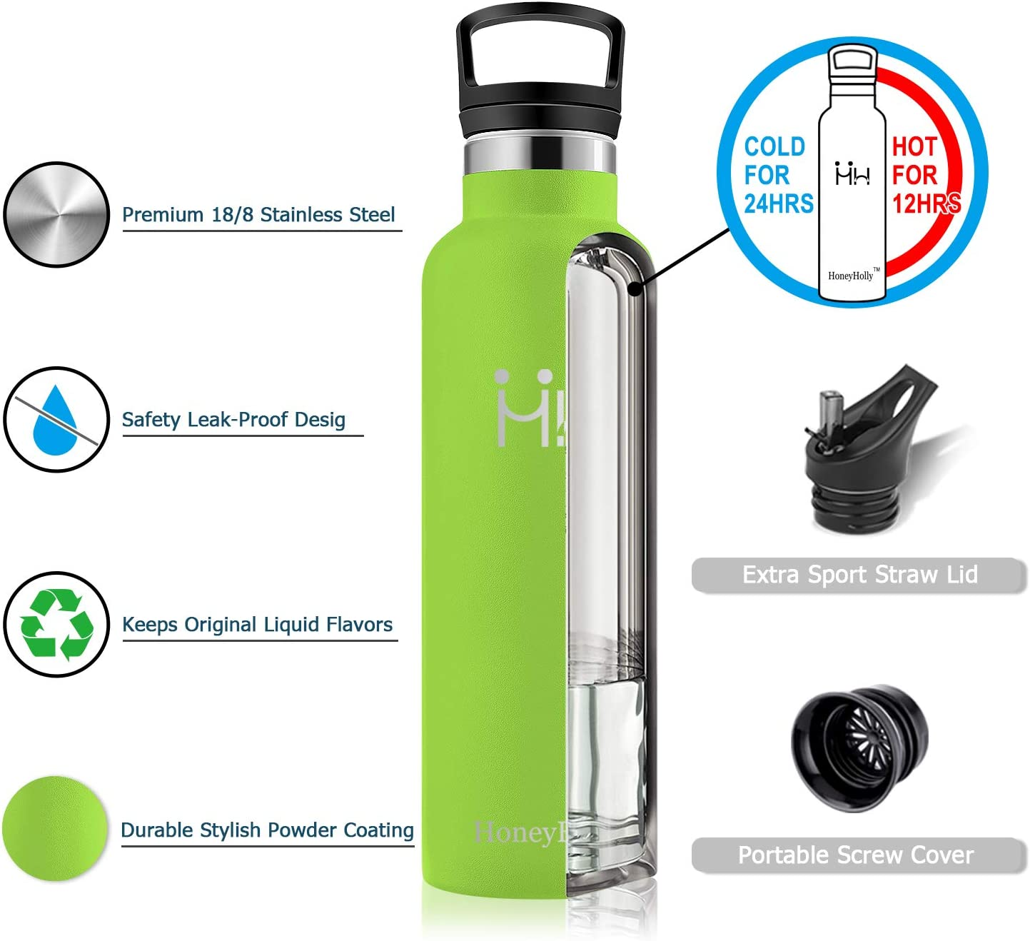 HoneyHolly Stainless Steel Vacuum Insulated Water Bottle,Reusable Bpa Free Metal Sport Bottles with Straw /& Filter 350//500//650//750//1000ml Leakproof Hot /& Cold Drinks BottleTravel Thermoflask