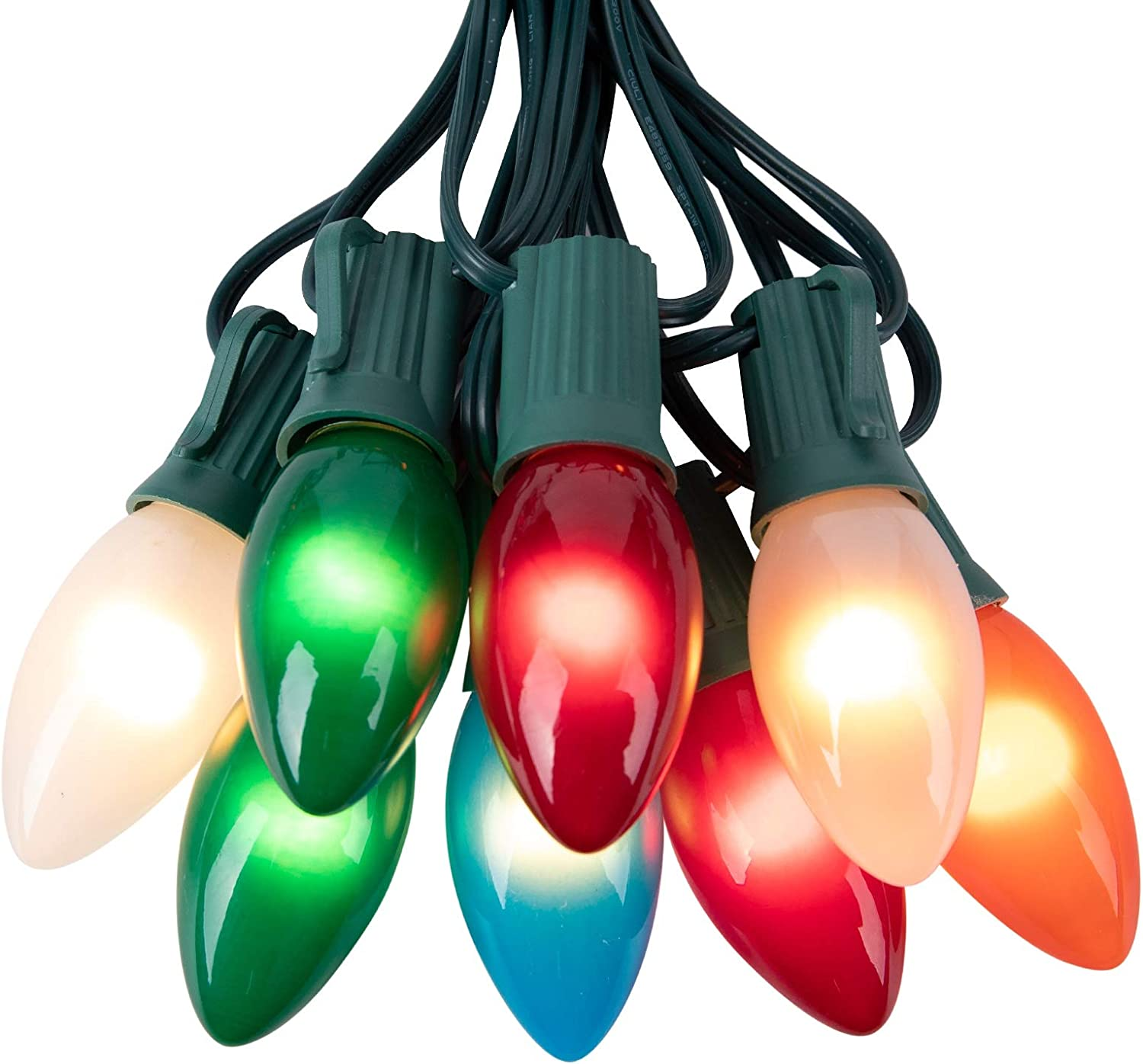 Ceramic Multicolor Christmas Lights, C9 25 Feet Vintage Incandescent Lights with Opaque Bulbs for Patio Fence Roofline Outdoor Indoor Holiday Decorations, 25 Bulbs with 2 Spare