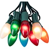 Ceramic Multicolor Christmas Lights, C9 25 Feet Vintage Incandescent Lights with Opaque Bulbs for Patio Fence Roofline…