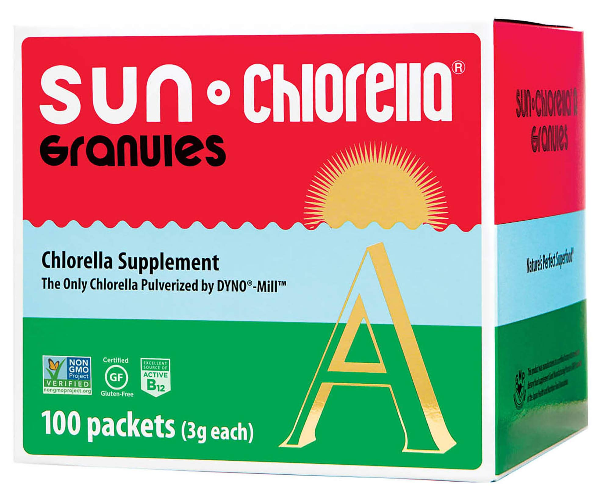SUN CHLORELLA Chlorella Supplement Granules - Vegan-Friendly Superfood Supplement Enriched with Vitamin A, D, B2, B6 & Omega-3 and Omega-6 (3g - 100 Packets)