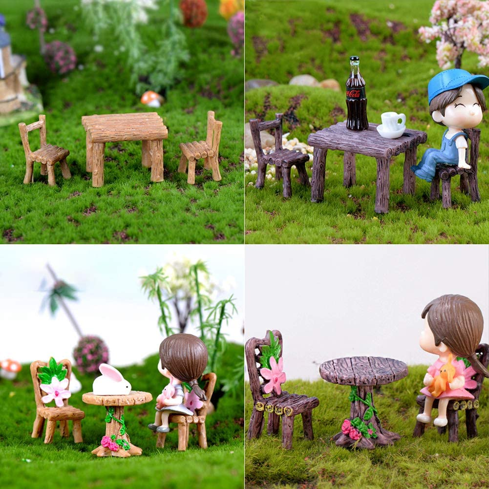 umorismo Miniature Table and Chairs Set Fairy Garden Furniture Ornaments Kit Doll House Funiture Set Home Micro Landscape Decoration